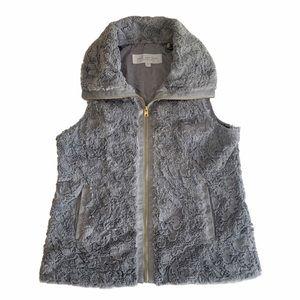 Andrew Marc New York Grey Faux Fur Zip Up Vest